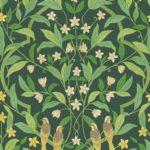 Giallo & Foglia Verde su Forest Dark Green